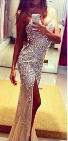 nude nude dress formal dress prom dresses 2014 diamonds nude dress, prom formal elegant dress elegant full length dress