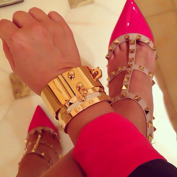 shoes christian louboutin pink gold jewels