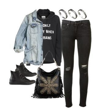bag handbag jeans jacket