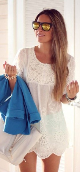 scalloped detailed see through white dress