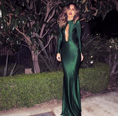 dress,prom dress,wedding clothes,clothes,sexy,satin,satin dress,maxi dress,cut-out dress,cut-out,model,bodycon,bodycon dress,green,gown,green gown,shiny,clevage,elegant,emerald green,emerald green dress,green dress,dark green dress,dark green,prom,formal,hunter green,long prom dress,long sleeves,pretty,couture dress,nipples