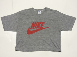 VINTAGE 80's NIKE TRI-BLEND ORANGE TAG SWOOSH CROP TOP T-SHIRT L | eBay