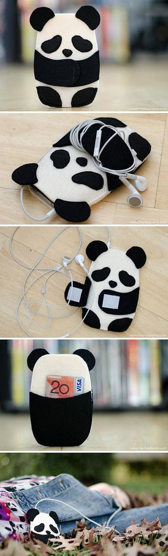 phone cover phone kawaii panda panda black and white