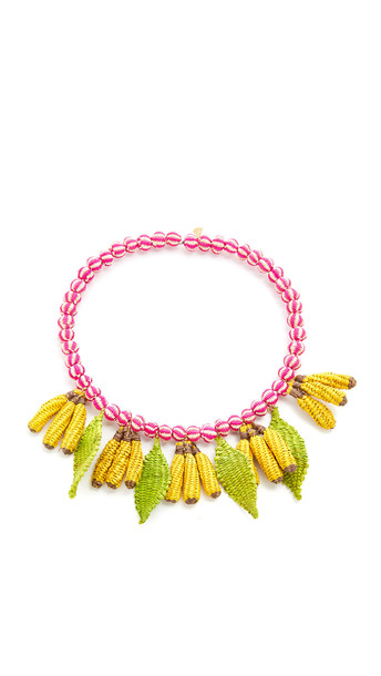 Mercedes Salazar Banana Choker Necklace - Yellow/Pink/Green