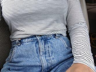 shirt striped shirt long sleeves black t-shirt white t-shirt jeans