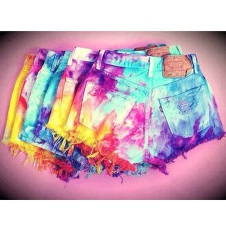 shorts tie dye tumblr colorful