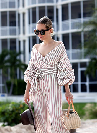 jumpsuit tumblr cropped jumpsuit stripes striped jumpsuit v neck off the shoulder puffed sleeves bag basket bag