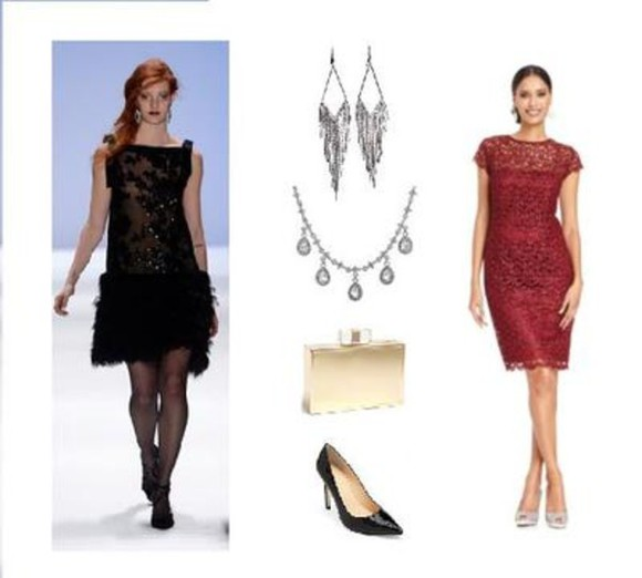 handbag jewels dress little black dress red dress silver necklace black heel shoes silver earrings