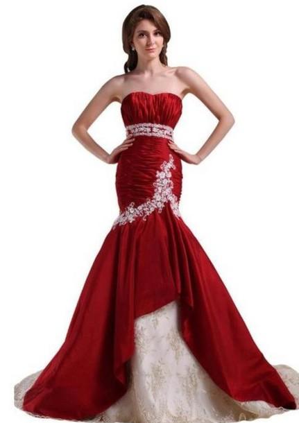 strapless wedding dress, dark red wedding dress, appliqued wedding ...