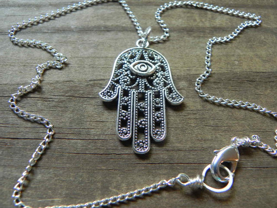 Hamsa pendant necklace hand of Fatima necklace  by AdrianaSoto
