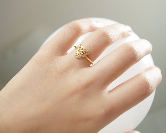 Gold/ rose gold leopard face rings by bkandjio on etsy