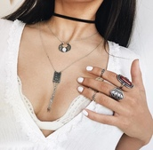 jewels,tumblr,jewelry,knuckle ring,ring,silver ring,necklace,silver necklace,choker necklace,black choker,bralette,nail polish,nails,white nails,boho jewelry,layered,absolutemarket