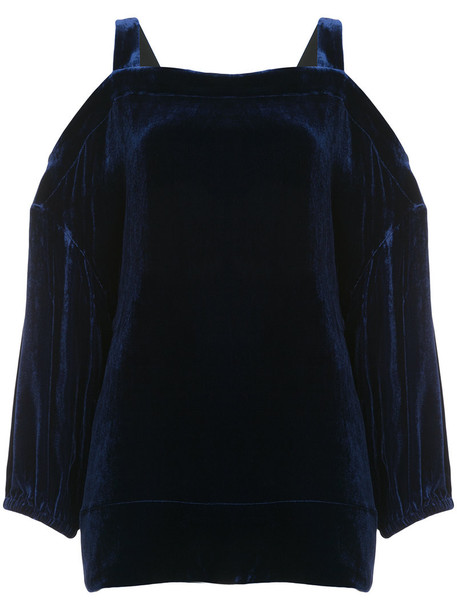 Tibi blouse women cut out shoulder blue silk top