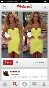 dress,sabo skirt,yellow,neon,strapless dress,summer dress,club dress