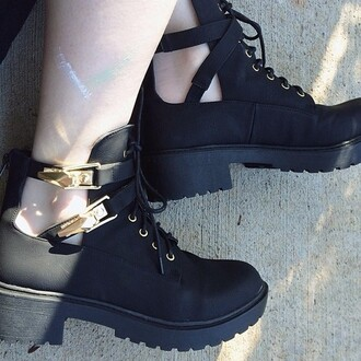 shoes boots combat boots exposed ankle black ankle boots buckles shoelaces zip