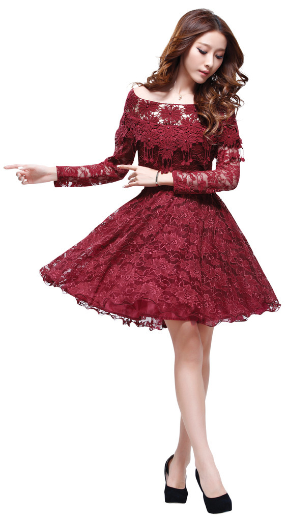 2013 New Fashion ladies' Lace Dress,Elegant women's long sleeved dress,Slim formal party dress casual dress free shipping Z005-in Apparel & Accessories on Aliexpress.com