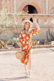 dress,tumblr,orange,orange dress,wrap dress,slit dress,midi dress,sandals,wedges,wedge sandals,bag,hat,sun hat,shoes
