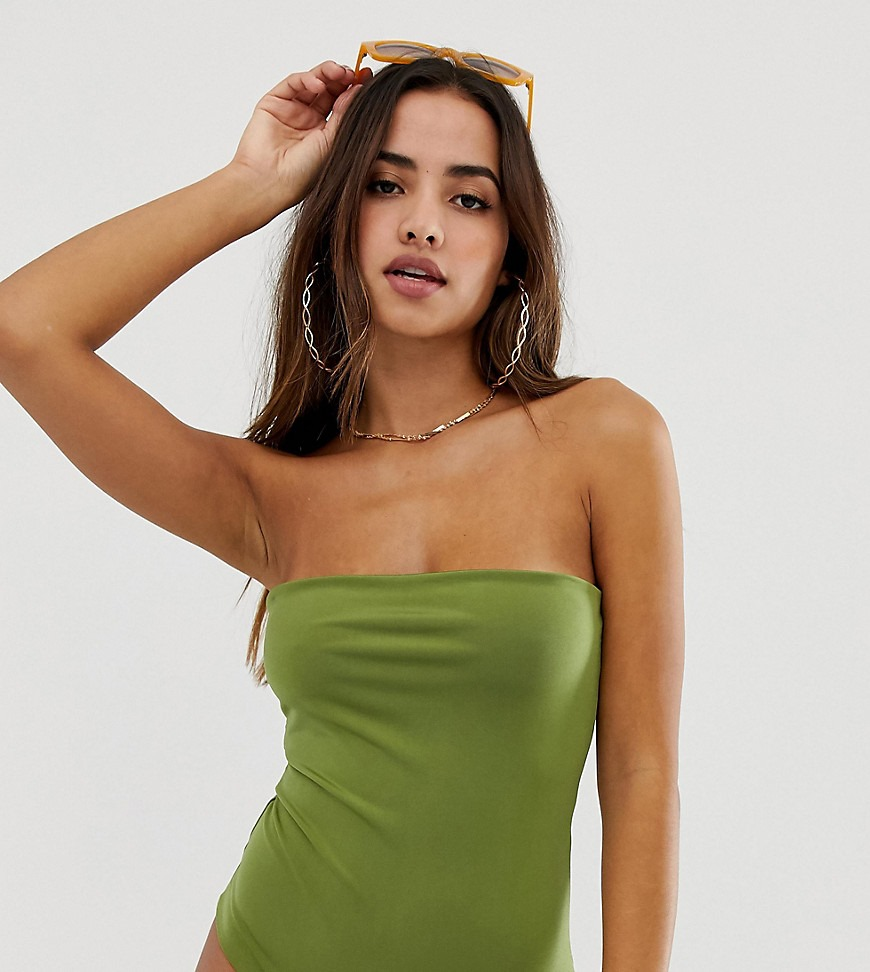 PrettyLittleThing exclusive bandeau swimsuit in green
