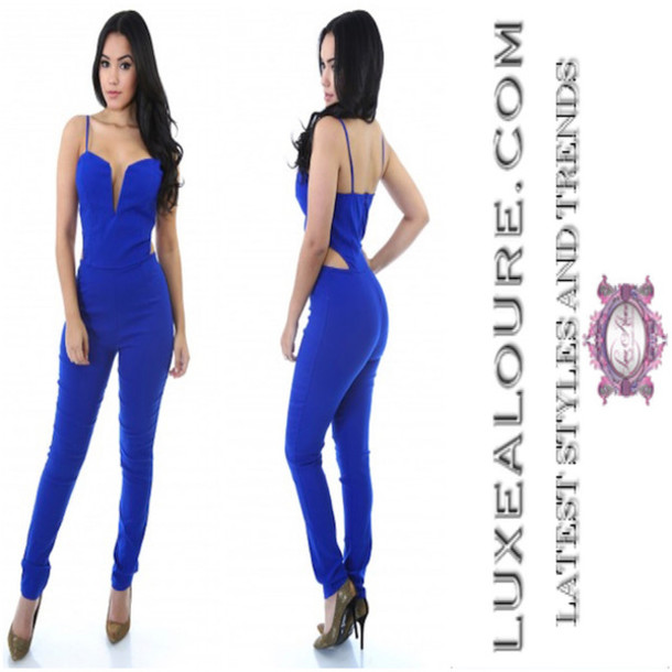 Jumpsuit: royal blue, royal blue jumpsuit, romper, sleeveless ...