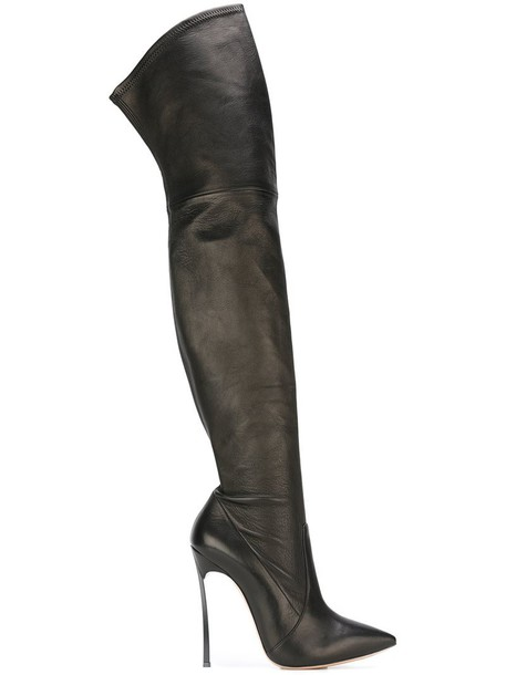 CASADEI women boots leather black shoes