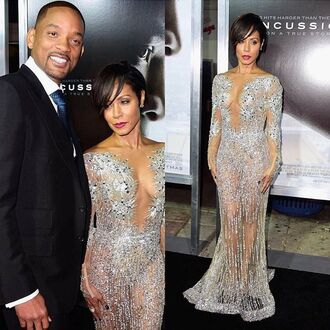 dress cut-out dress celebrity style silver silver dress nude dress jada pinket see through dress