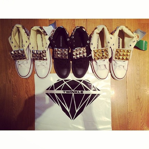 shoes black twinkle converse stud gold silver white high diamonds