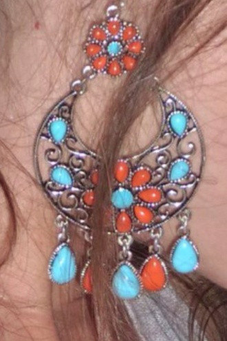 jewels coral earrings turquoise