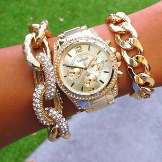 jewels studs glimmer bracelet watch gold watch chain chain link bracelets chunky