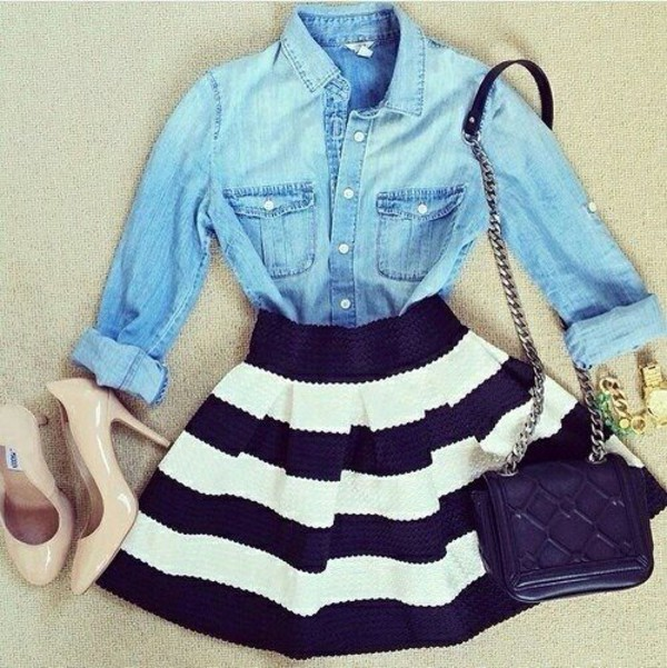 blouse striped skirt nude pumps denim jacket purse shoes shirt bag