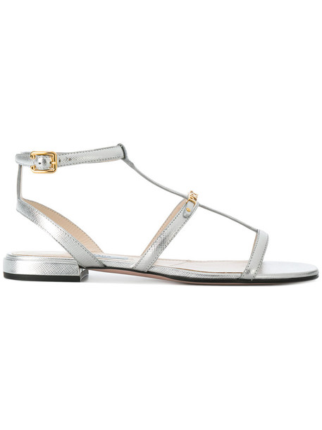 Prada women sandals leather grey metallic shoes
