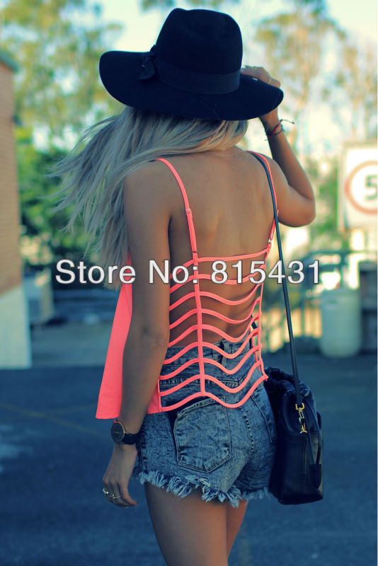 New 2014 Cage Back tank crop tops chiffon women blusas femininas plus size roupas femininas summer-in Tank Tops from Apparel & Accessories on Aliexpress.com