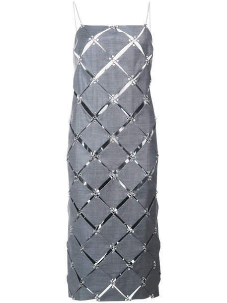 Paco Rabanne dress diamond dress women wool grey