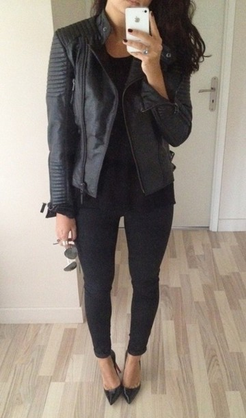 jacket leather jacket leather black leather jacket pointed toe aviator sunglasses shoes black black jacket