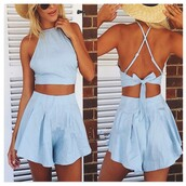 dress,sky blue dress,sky blue prom dress,ruffle halter dress,mini sexy dress,two-piece,bikini,halter mesh top,dress cut mini,mini skirt,sexy two piece set