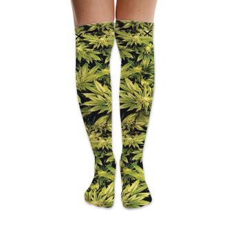 socks odd sox knee high socks knee high knee length over the knee weed weed socks marijuana marijuana socks pot leaf pot style fashion dope dope wishlist trendy