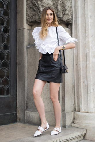 fashionagony blogger top skirt shoes bag shoulder bag leather skirt black skirt blouse white blouse flats ruffled top tumblr ruffle mini skirt pointed toe flats
