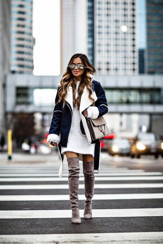 jacket tumblr shearling jacket shearling denim jacket dress sweater dress mini dress knit knitwear knitted dress boots grey boots over the knee boots over the knee sunglasses
