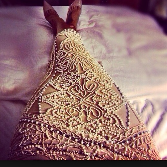 40% off Asos River Island Dresses & Skirts - Asos River Island Cream Pearl Midi Skirt from Chi-chi's closet on Poshmark