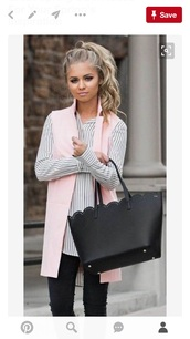 blouse,black and white,jacket,pink vest