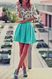 skirt,blouse,shoes,turquoise,skater skirt,cute,long flowing skirt,blue,turquoise skirt,light blue