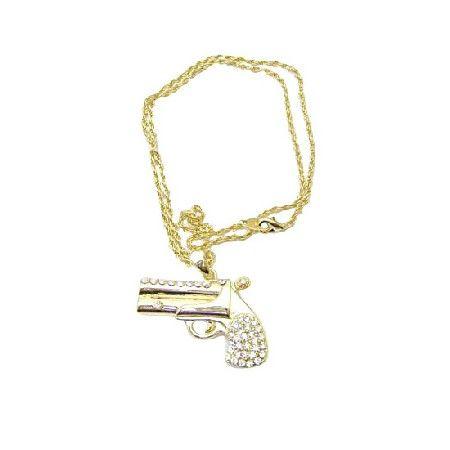 Golden chain golden gun striking smashing pendant gun pendant necklace
