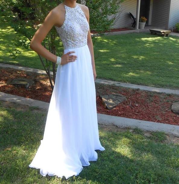 dress white chiffon sequin dress boho dress white dress embroidered dress white prom dress homecoming dress