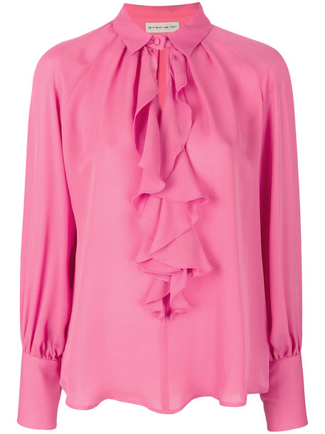 Etro - ruffle blouse - women - Silk - 44, Pink/Purple, Silk