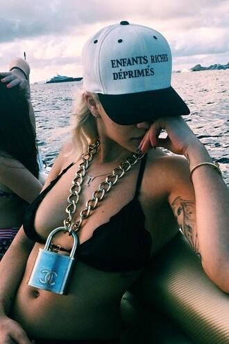 bikini top rita ora cap chain chanel