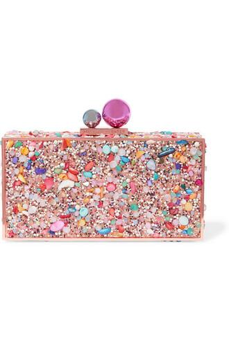 metal embellished clutch pink bag