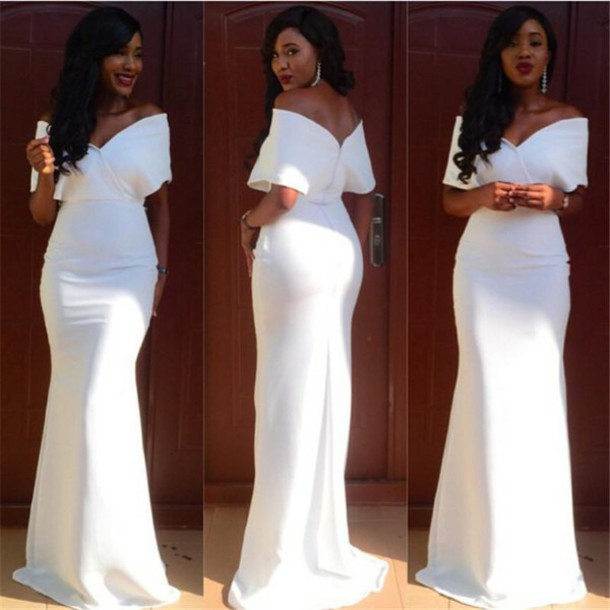 Dress Plus Size White Evening Dresses Aso Ebi Style Evening
