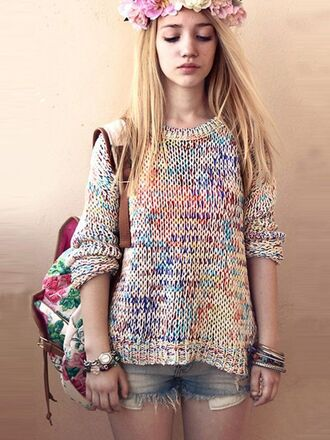 vintage knitting long sleeves colorful women's fashion 2014