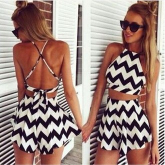 jumpsuit two set black & white chevron skirt fashion beach girl