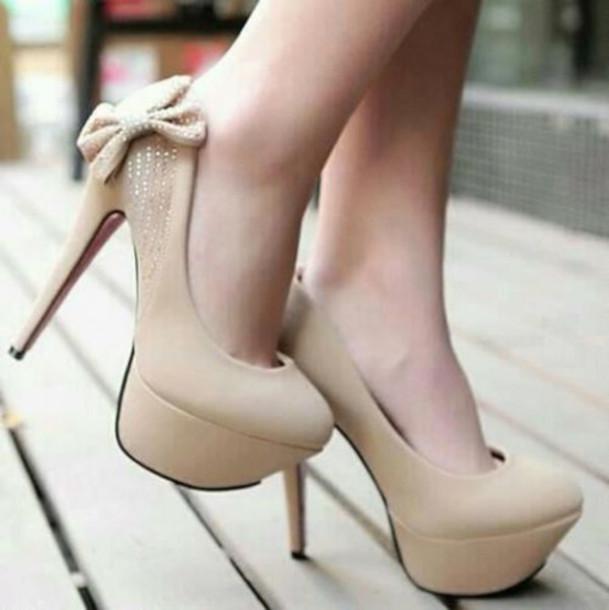 bb45effcddb heels bow high heels beige shoes
