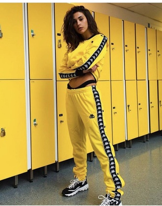 jumpsuit black and yellow shirt black yellow black and yellow pants black and yellow kappa